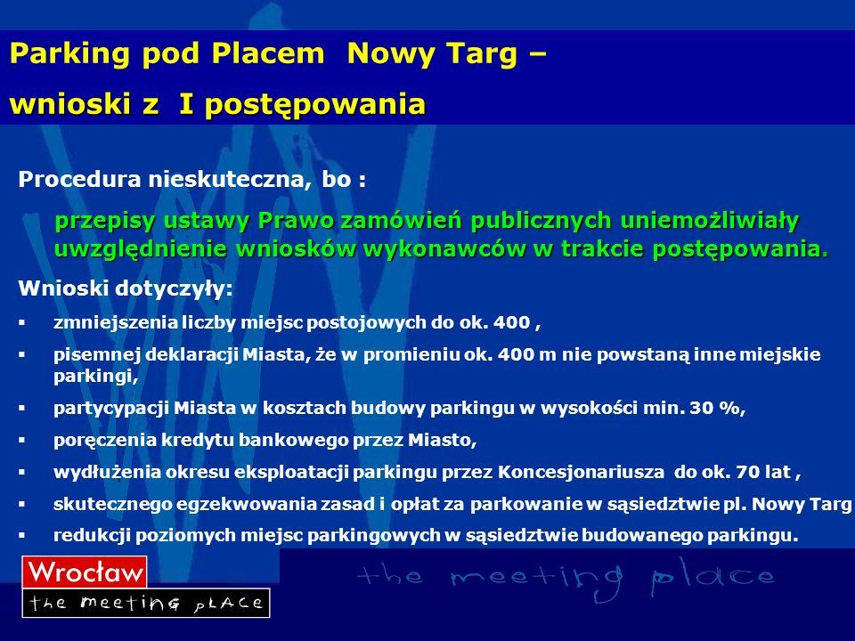 Parking pod Placem Nowy Targ – wnioski z I postępowania Procedura nieskuteczna, bo : przepisy ustawy Prawo zamówień publicznych uniemożliwiały uwzględ