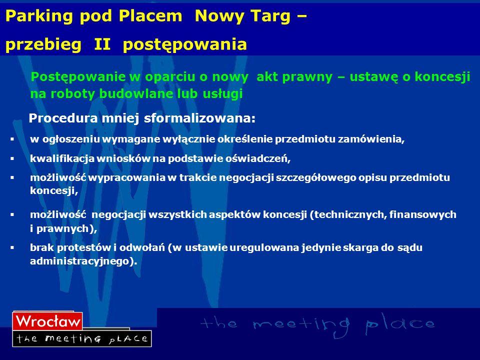 Parking pod Placem Nowy Targ – przebieg II postępowania Postępowanie w oparciu o nowy akt prawny – ustawę o koncesji na roboty budowlane lub usługi Pr
