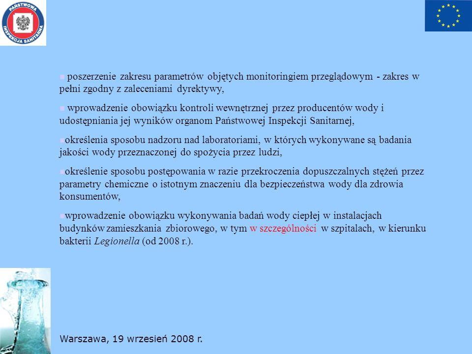 Warszawa, 19 wrzesień 2008 r. poszerzenie zakresu parametrów objętych monitoringiem przeglądowym - zakres w pełni zgodny z zaleceniami dyrektywy, wpro