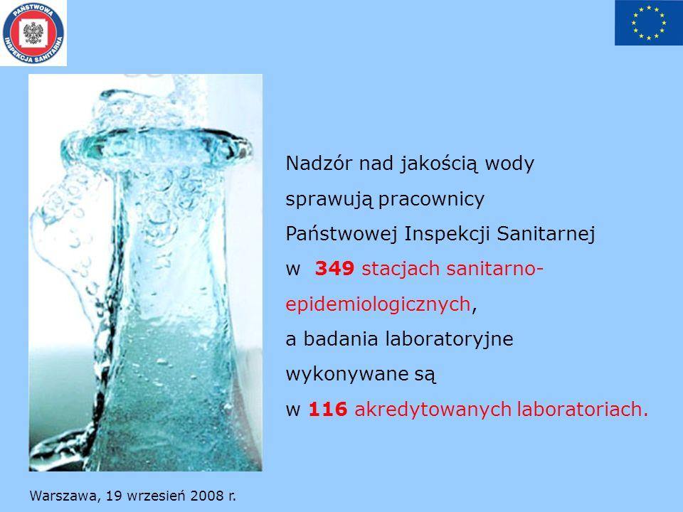 Warszawa, 19 wrzesień 2008 r. Nadzór nad jakością wody sprawują pracownicy Państwowej Inspekcji Sanitarnej w 349 stacjach sanitarno- epidemiologicznyc