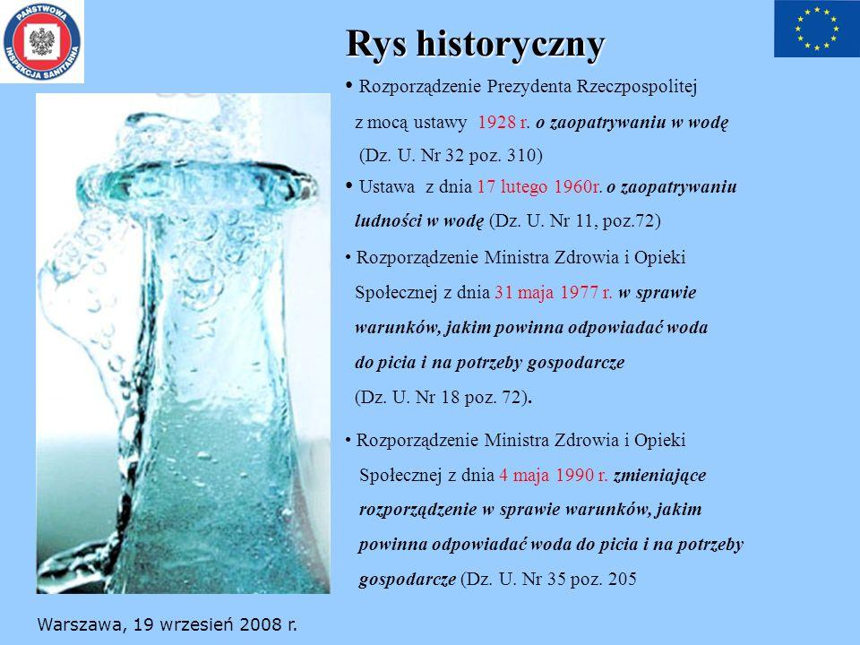 Warszawa, 19 wrzesień 2008 r. Rys historyczny Rozporządzenie Prezydenta Rzeczpospolitej z mocą ustawy 1928 r. o zaopatrywaniu w wodę (Dz. U. Nr 32 poz