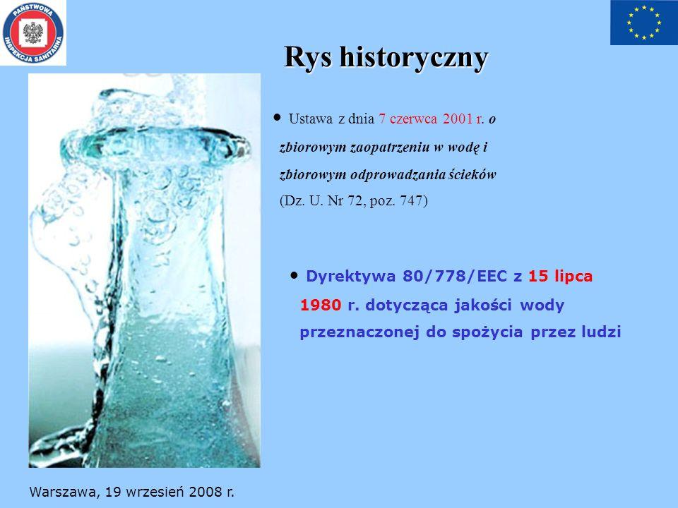 Warszawa, 19 wrzesień 2008 r. Rys historyczny Ustawa z dnia 7 czerwca 2001 r. o zbiorowym zaopatrzeniu w wodę i zbiorowym odprowadzania ścieków (Dz. U