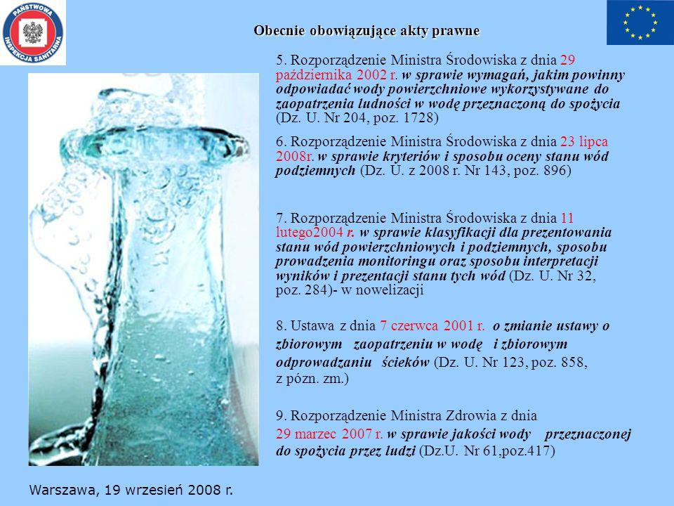 Obecnie obowiązujące akty prawne 5. Rozporządzenie Ministra Środowiska z dnia 29 października 2002 r. w sprawie wymagań, jakim powinny odpowiadać wody