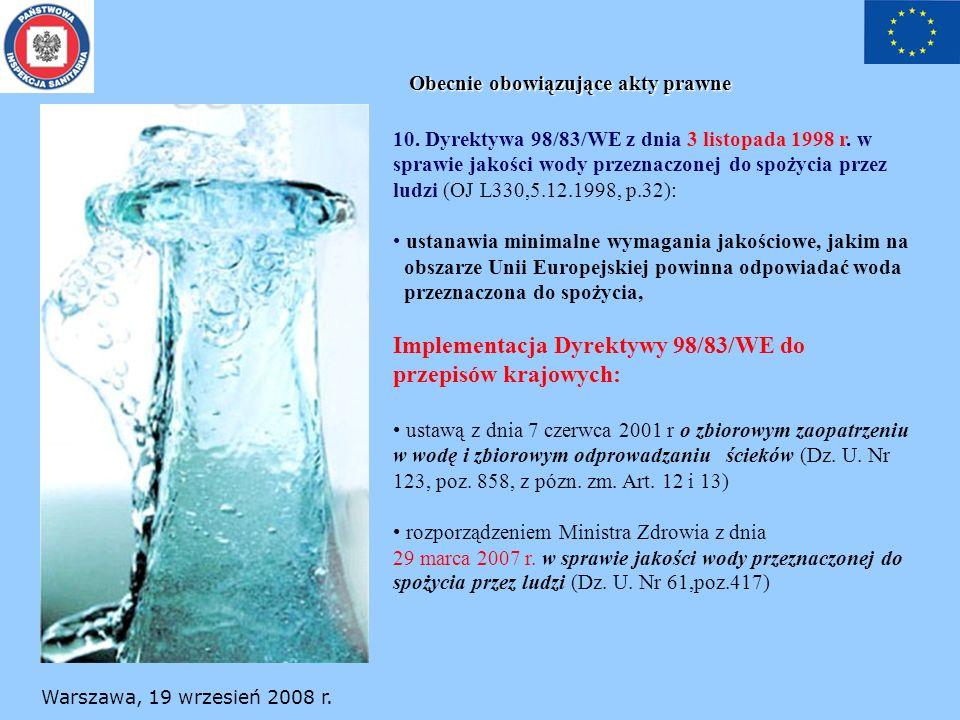 Warszawa, 19 wrzesień 2008 r. Obecnie obowiązujące akty prawne 10. Dyrektywa 98/83/WE z dnia 3 listopada 1998 r. w sprawie jakości wody przeznaczonej