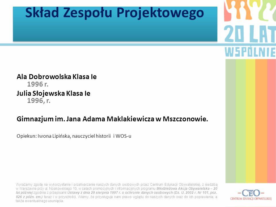 Ala Dobrowolska Klasa Ie 1996 r. Julia Słojewska Klasa Ie 1996, r. Gimnazjum im. Jana Adama Maklakiewicza w Mszczonowie. Opiekun: Iwona Lipińska, nauc