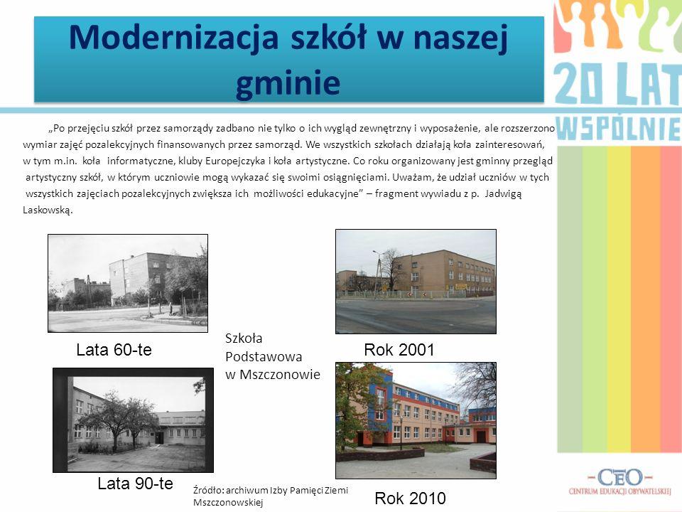 Modernizacja szkół w naszej gminie Po przejęciu szkół przez samorządy zadbano nie tylko o ich wygląd zewnętrzny i wyposażenie, ale rozszerzono wymiar