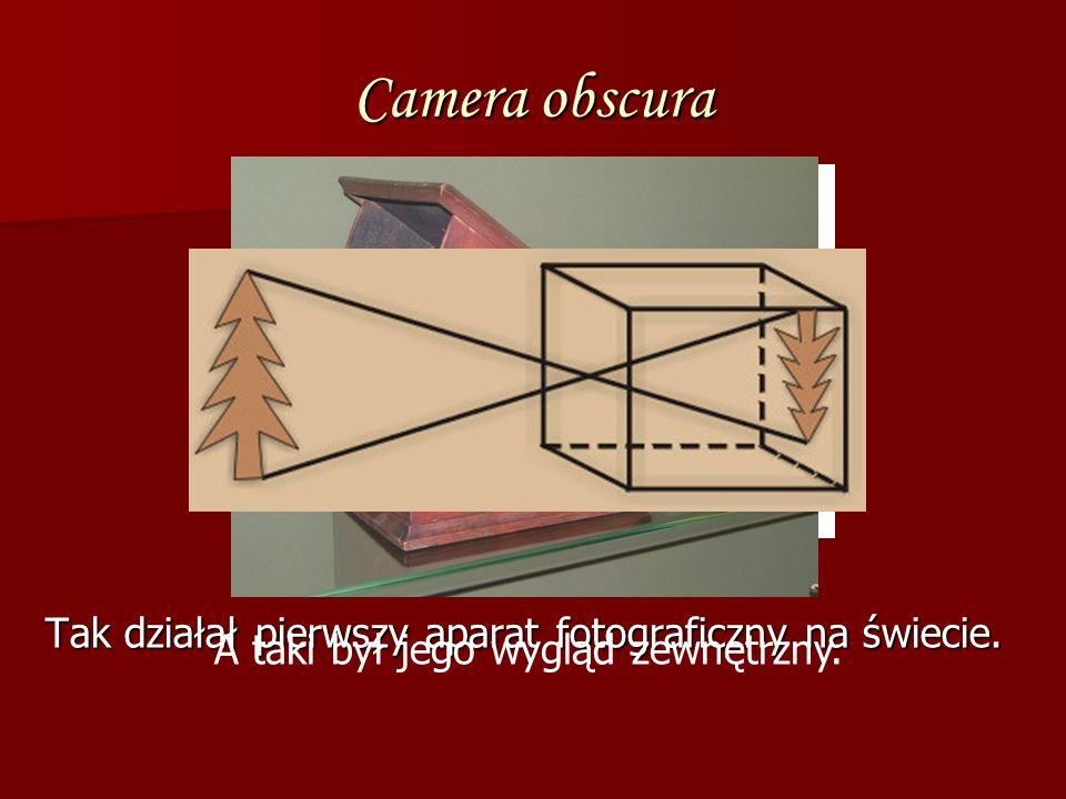 Camera obscura Tak działał pierwszy aparat fotograficzny na świecie. Tak działał pierwszy aparat fotograficzny na świecie. A taki był jego wygląd zewn