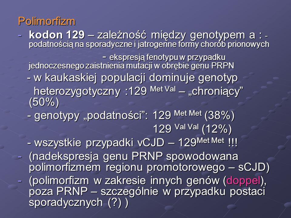 Polimorfizm -kodon 129 – zależność między genotypem a : - podatnością na sporadyczne i jatrogenne formy chorób prionowych - ekspresją fenotypu w przyp