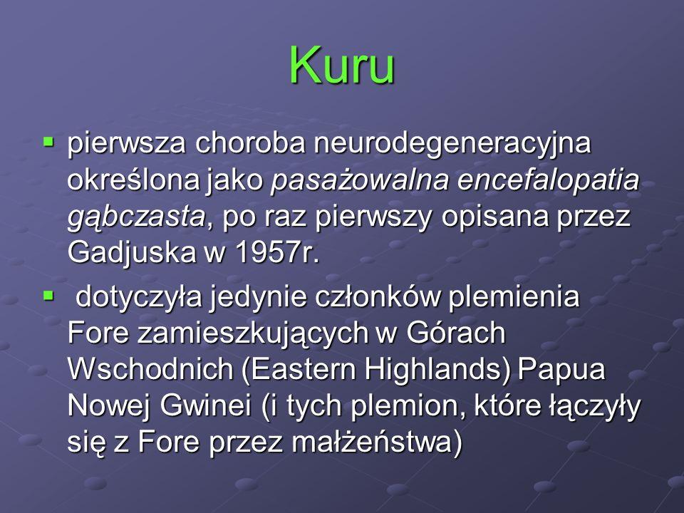 Kuru pierwsza choroba neurodegeneracyjna określona jako pasażowalna encefalopatia gąbczasta, po raz pierwszy opisana przez Gadjuska w 1957r. pierwsza