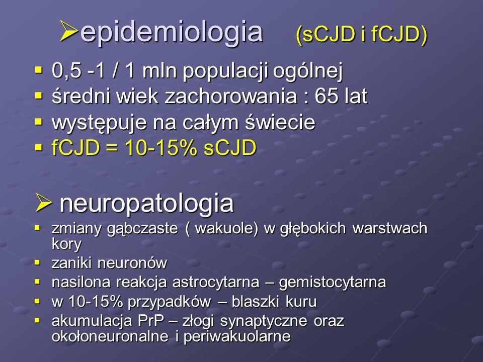 epidemiologia (sCJD i fCJD) epidemiologia (sCJD i fCJD) 0,5 -1 / 1 mln populacji ogólnej 0,5 -1 / 1 mln populacji ogólnej średni wiek zachorowania : 6
