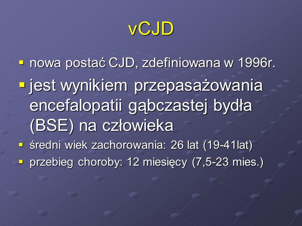 vCJD nowa postać CJD, zdefiniowana w 1996r. nowa postać CJD, zdefiniowana w 1996r. jest wynikiem przepasażowania encefalopatii gąbczastej bydła (BSE)
