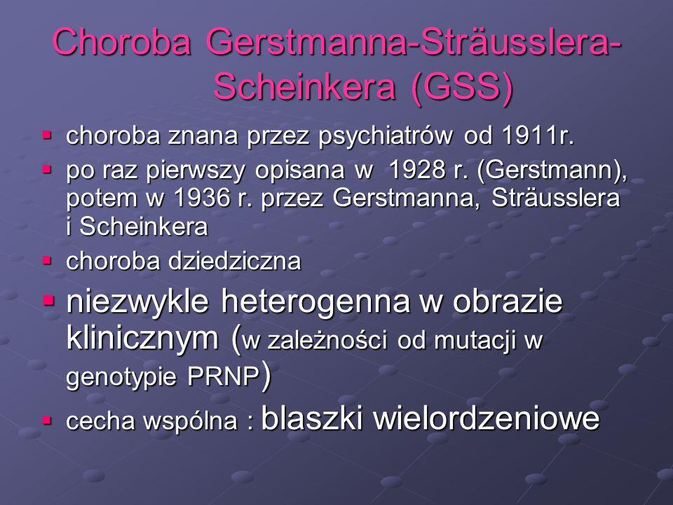 Choroba Gerstmanna-Sträusslera- Scheinkera (GSS) choroba znana przez psychiatrów od 1911r. choroba znana przez psychiatrów od 1911r. po raz pierwszy o