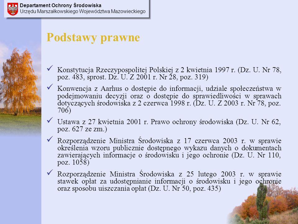 Departament Ochrony Środowiska Urzędu Marszałkowskiego Województwa Mazowieckiego Podstawy prawne Konstytucja Rzeczypospolitej Polskiej z 2 kwietnia 1997 r.
