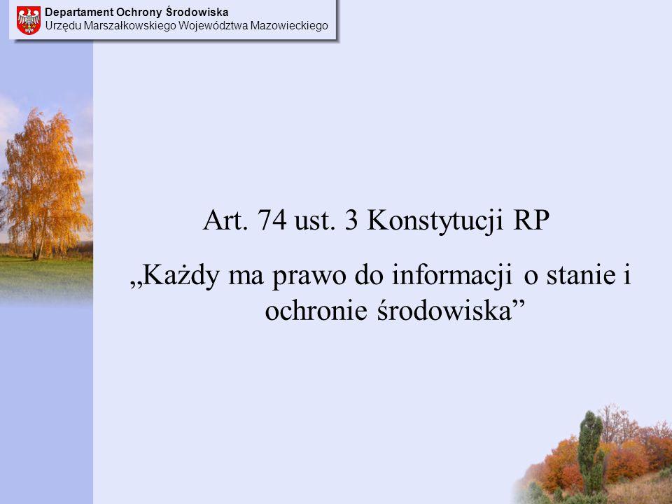 Departament Ochrony Środowiska Urzędu Marszałkowskiego Województwa Mazowieckiego Art.