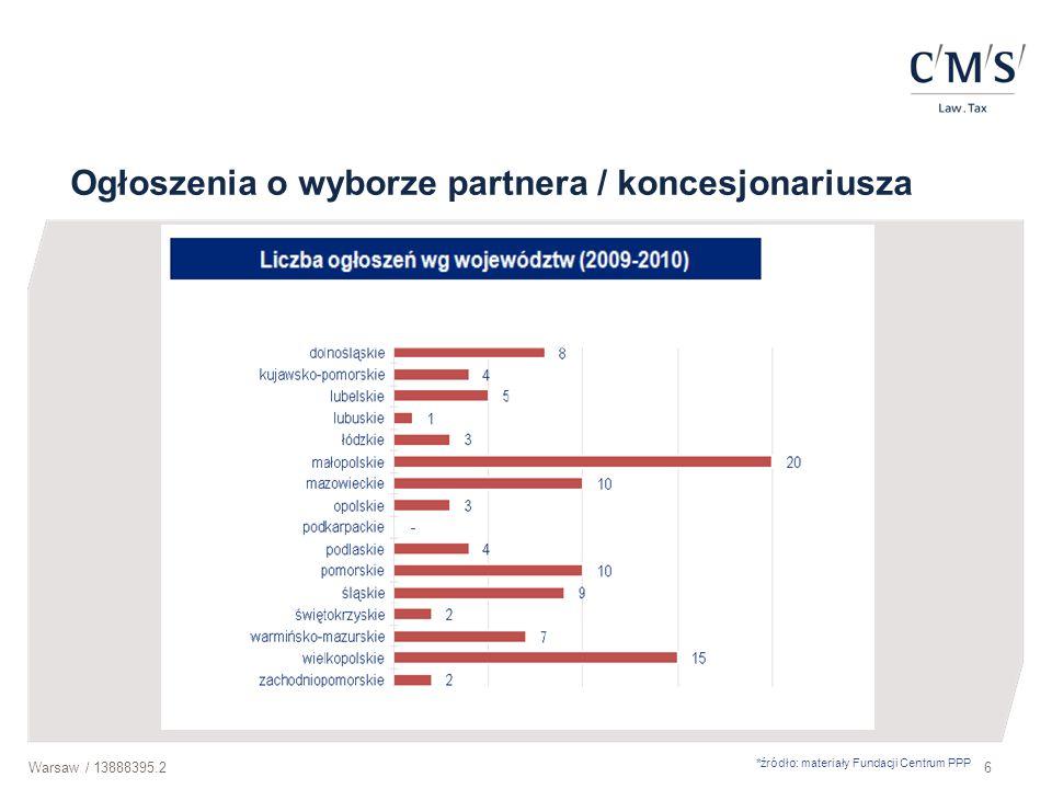 Warsaw / 13888395.27 Założenia umowy o PPP Strony umowy Podmiot publiczny Partner prywatny Przedmiot umowy Realizacja PPP na podstawie Umowy o PPP Spółki z udziałem partnera publicznego i prywatnego Wspólna realizacja przedsięwzięcia oparta na podziale zadań i ryzyk