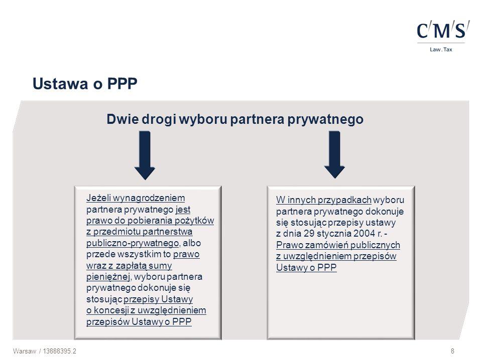 Warsaw / 13888395.29 Elementy umowy o PPP (1) Rodzaj przedsięwzięcia budowa lub remont obiektu budowlanego świadczenie usług wykonanie dzieła inne świadczenie Połączone z utrzymaniem lub zarządzaniem składnikiem majątkowym, który jest wykorzystywany do realizacji przedsięwzięcia lub jest z nim związany Zasady wynagradzania partnera prywatnego opłata za dostępność Poziom wydatków ponoszonych przez partnera prywatnego lub osobę trzecią (instytucję finansową)
