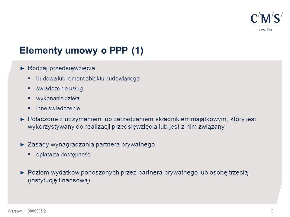 Warsaw / 13888395.210 Elementy umowy o PPP (2) Określenie wkładu własnego wnoszonego przez partnerów w celu realizacji przedsięwzięcia w szczególności poniesienie części wydatków na realizację przedsięwzięcia, w tym sfinansowanie dopłat do usług świadczonych przez partnera prywatnego w ramach przedsięwzięcia, lub wniesienie składnika majątkowego przez podmiot publiczny Zwrot składnika majątkowego określenie stanu, w jakim znajdować ma się składnik majątkowy w momencie zwrotu na rzecz podmiotu publicznego Podział ryzyk związanych z realizacją przedsięwzięcia