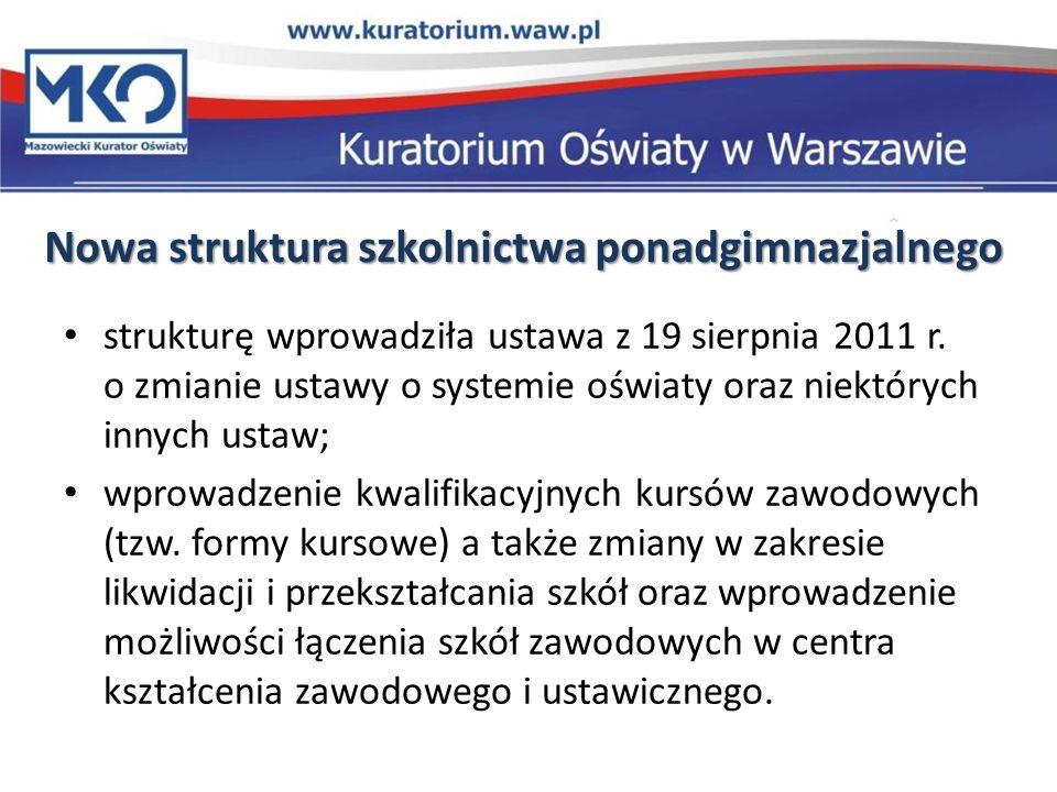 Nowa struktura szkolnictwa ponadgimnazjalnego strukturę wprowadziła ustawa z 19 sierpnia 2011 r. o zmianie ustawy o systemie oświaty oraz niektórych i