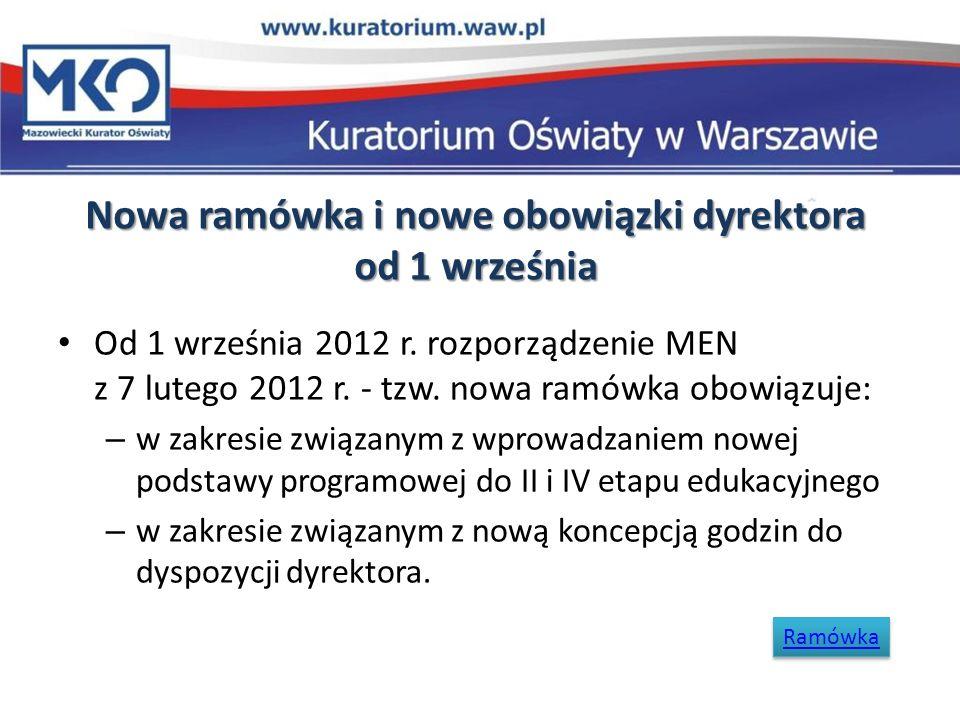 Nowa ramówka i nowe obowiązki dyrektora od 1 września Od 1 września 2012 r. rozporządzenie MEN z 7 lutego 2012 r. - tzw. nowa ramówka obowiązuje: – w
