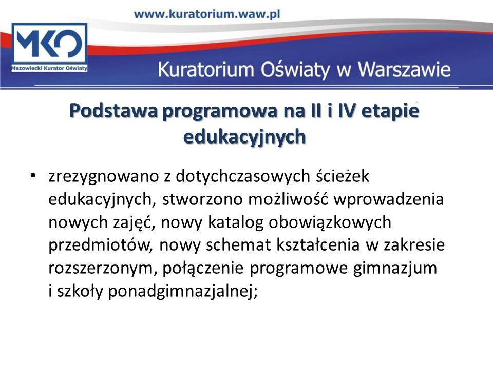 Podstawa programowa na II i IV etapie edukacyjnych zrezygnowano z dotychczasowych ścieżek edukacyjnych, stworzono możliwość wprowadzenia nowych zajęć,
