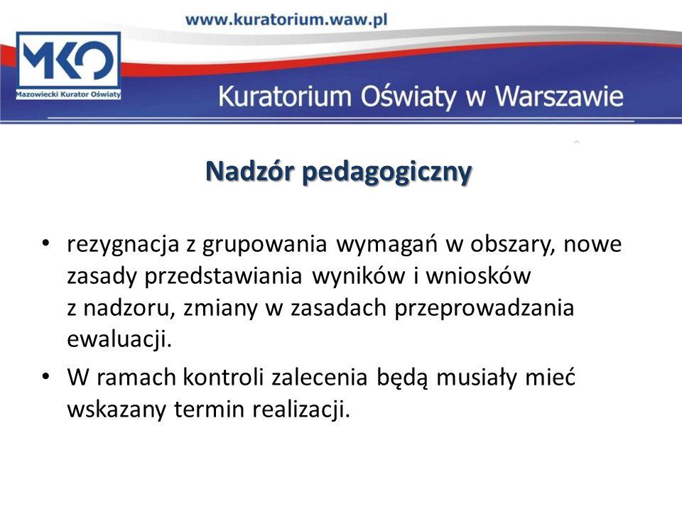Nadzór pedagogiczny rezygnacja z grupowania wymagań w obszary, nowe zasady przedstawiania wyników i wniosków z nadzoru, zmiany w zasadach przeprowadza