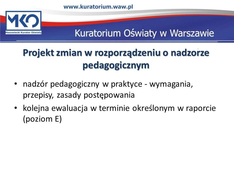 Projekt zmian w rozporządzeniu o nadzorze pedagogicznym nadzór pedagogiczny w praktyce - wymagania, przepisy, zasady postępowania kolejna ewaluacja w