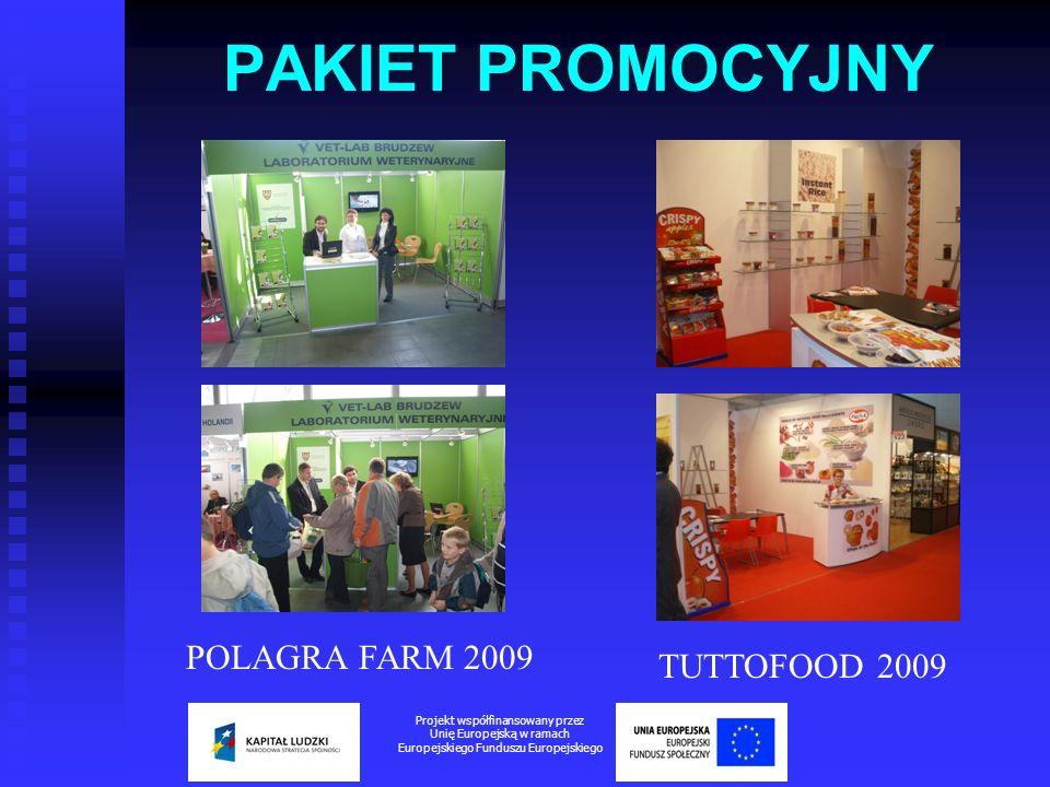 PAKIET PROMOCYJNY Projekt współfinansowany przez Unię Europejską w ramach Europejskiego Funduszu Europejskiego POLAGRA FARM 2009 TUTTOFOOD 2009