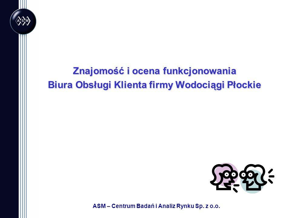 ASM – Centrum Badań i Analiz Rynku Sp. z o.o. Znajomość i ocena funkcjonowania Biura Obsługi Klienta firmy Wodociągi Płockie