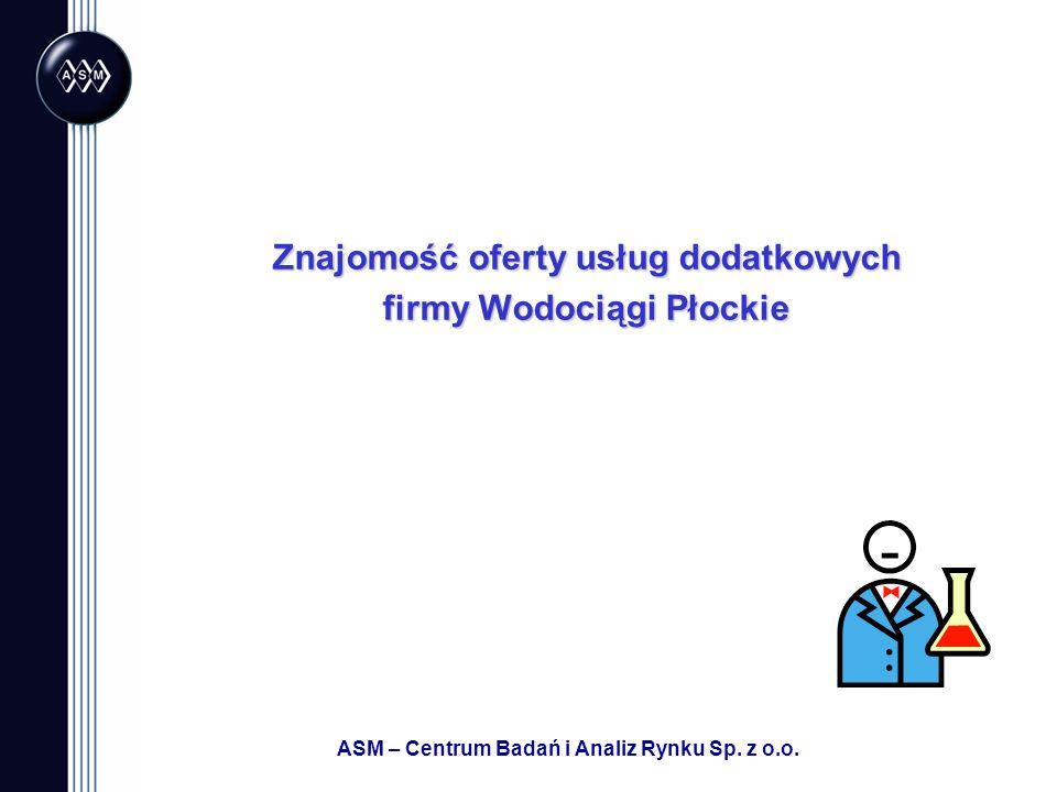 ASM – Centrum Badań i Analiz Rynku Sp. z o.o. Znajomość oferty usług dodatkowych firmy Wodociągi Płockie