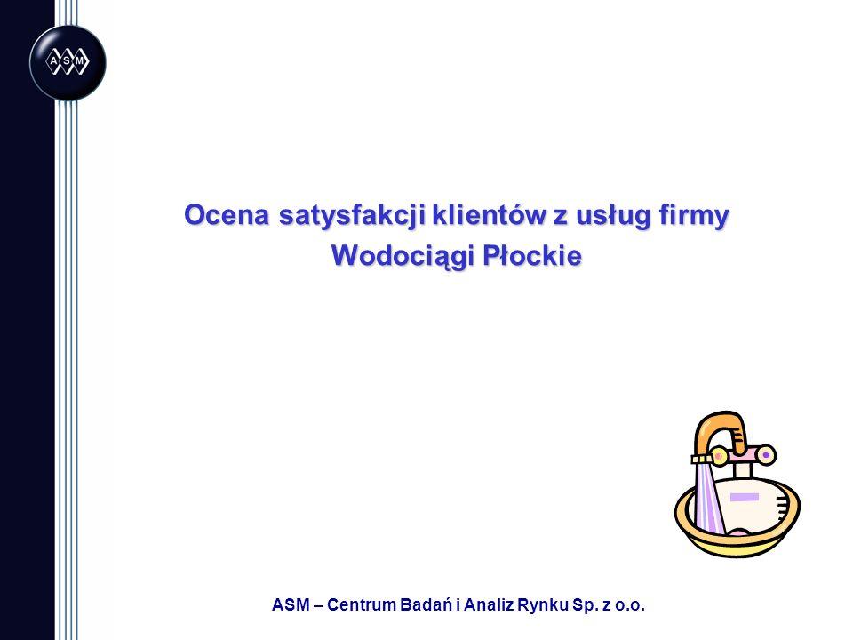 ASM – Centrum Badań i Analiz Rynku Sp. z o.o. Ocena satysfakcji klientów z usług firmy Wodociągi Płockie