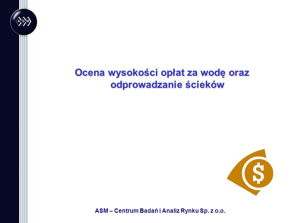 ASM – Centrum Badań i Analiz Rynku Sp. z o.o. Ocena wysokości opłat za wodę oraz odprowadzanie ścieków