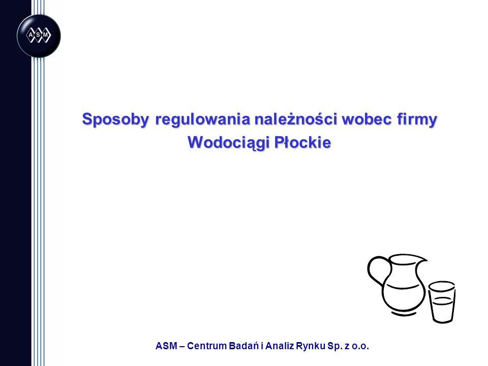 ASM – Centrum Badań i Analiz Rynku Sp. z o.o. Sposoby regulowania należności wobec firmy Wodociągi Płockie