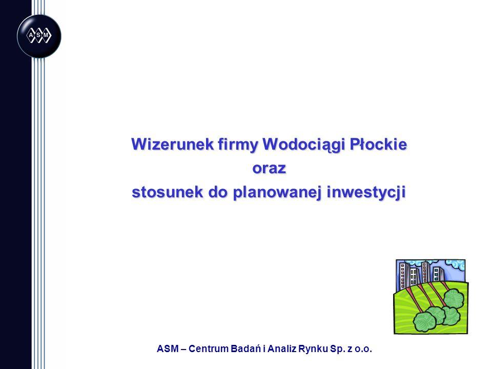 ASM – Centrum Badań i Analiz Rynku Sp. z o.o. Wizerunek firmy Wodociągi Płockie oraz stosunek do planowanej inwestycji