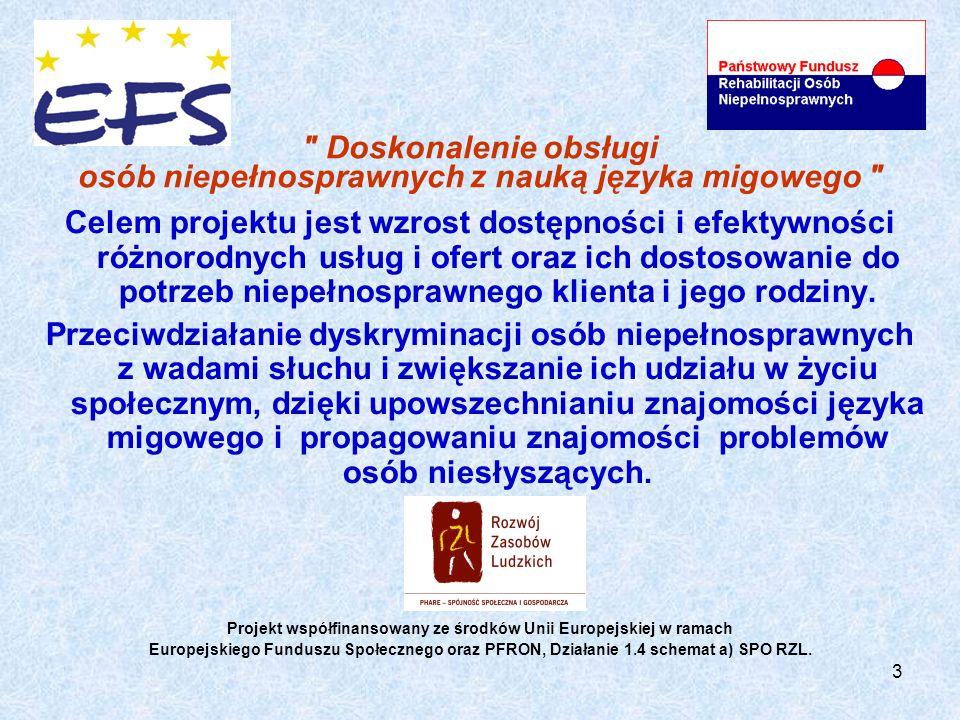 3 Doskonalenie obsługi osób niepełnosprawnych z nauką języka migowego Celem projektu jest wzrost dostępności i efektywności różnorodnych usług i ofert oraz ich dostosowanie do potrzeb niepełnosprawnego klienta i jego rodziny.