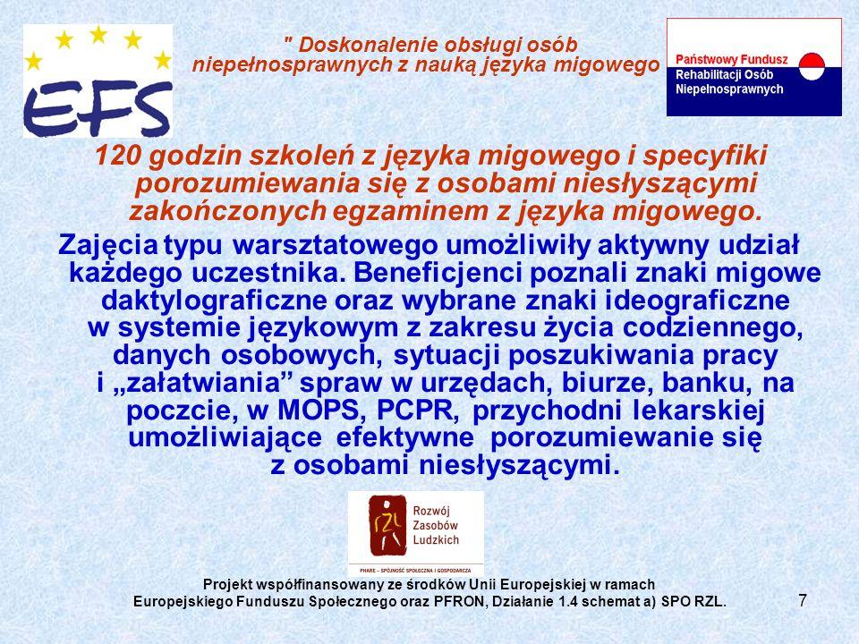 7 Doskonalenie obsługi osób niepełnosprawnych z nauką języka migowego 120 godzin szkoleń z języka migowego i specyfiki porozumiewania się z osobami niesłyszącymi zakończonych egzaminem z języka migowego.