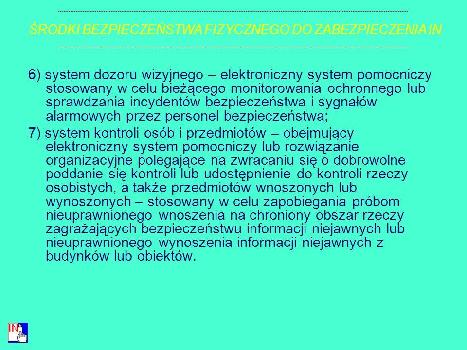 3) szafy i zamki – stosowane do przechowywania informacji niejawnych lub zabezpieczające te informacje przed nieuprawnionym dostępem; 4) system kontro