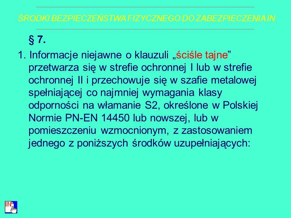 § 6. Klucze i kody dostępu do szaf, pomieszczeń lub obszarów, w których są przetwarzane informacje niejawne, mogą być udostępnione tylko tym osobom, k
