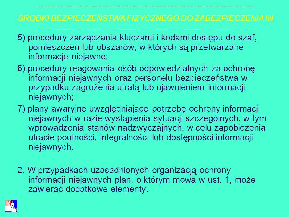 a) klauzule tajności informacji niejawnych przetwarzanych w strefie, b) sposób sprawowania nadzoru przez osoby uprawnione w przypadku przebywania w st