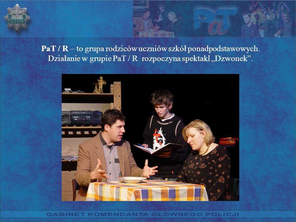 PaT / R – to grupa rodziców uczniów szkół ponadpodstawowych. Działanie w grupie PaT / R rozpoczyna spektakl Dzwonek.