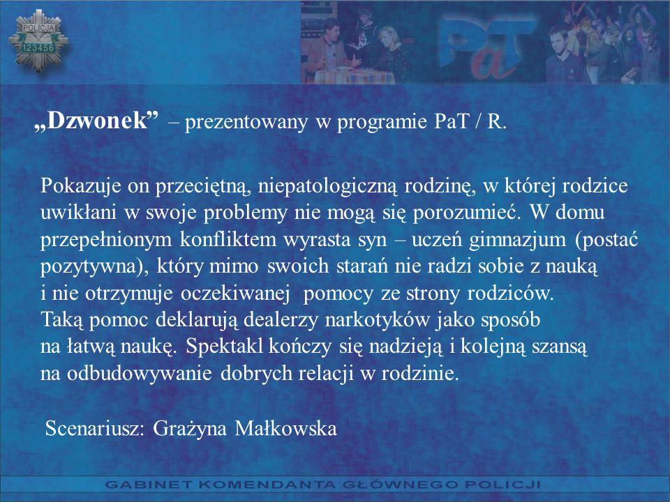 Dzwonek – prezentowany w programie PaT / R. Pokazuje on przeciętną, niepatologiczną rodzinę, w której rodzice uwikłani w swoje problemy nie mogą się p