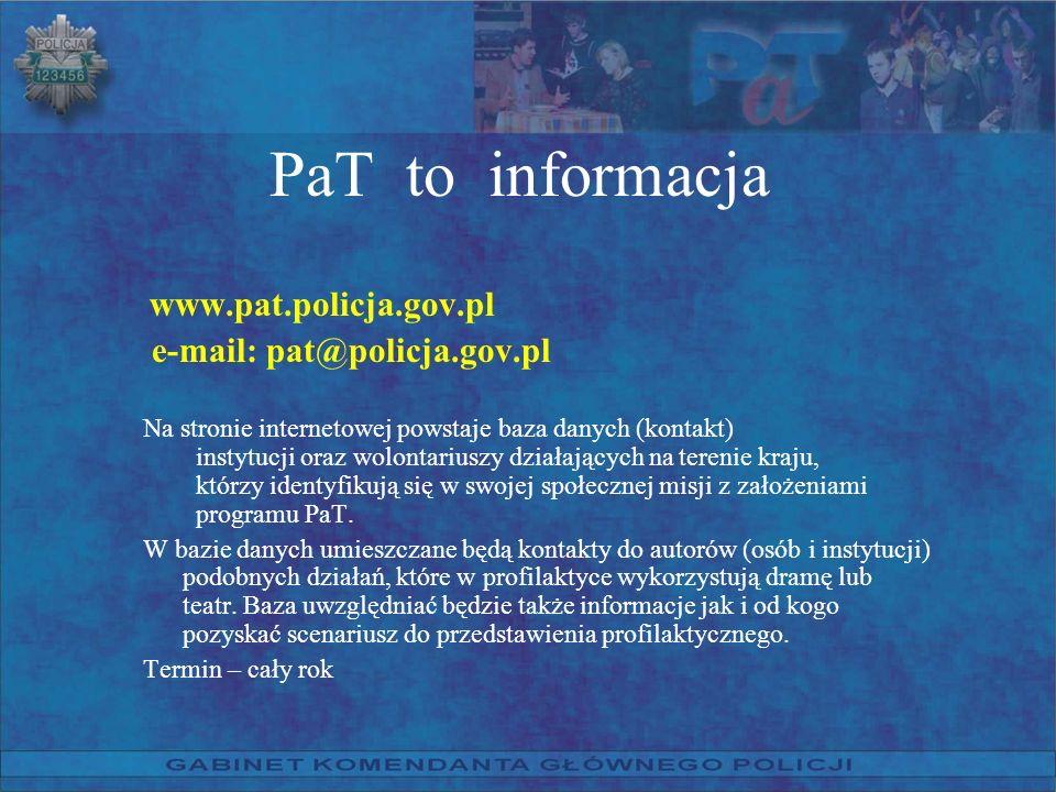 PaT to informacja www.pat.policja.gov.pl e-mail: pat@policja.gov.pl Na stronie internetowej powstaje baza danych (kontakt) instytucji oraz wolontarius
