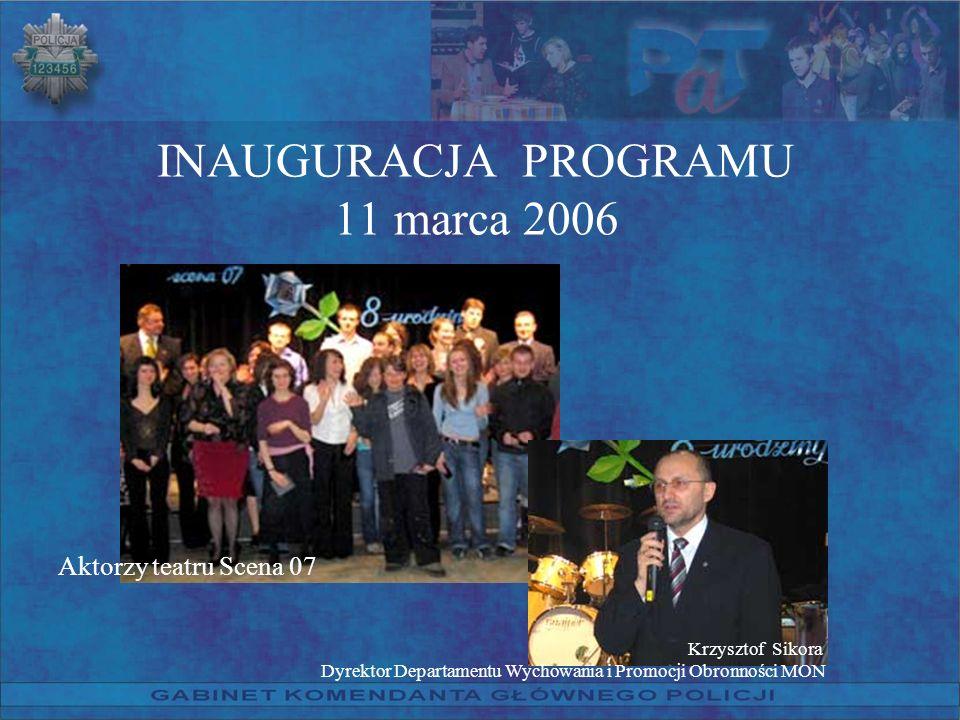INAUGURACJA PROGRAMU 11 marca 2006 Aktorzy teatru Scena 07 Krzysztof Sikora Dyrektor Departamentu Wychowania i Promocji Obronności MON