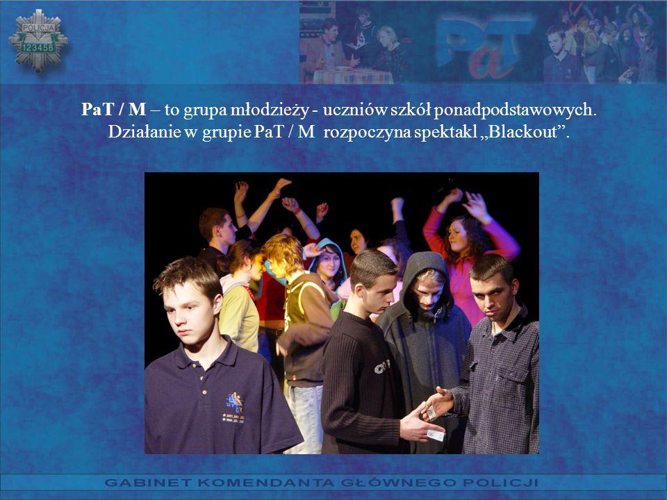 PaT / M – to grupa młodzieży - uczniów szkół ponadpodstawowych. Działanie w grupie PaT / M rozpoczyna spektakl Blackout.
