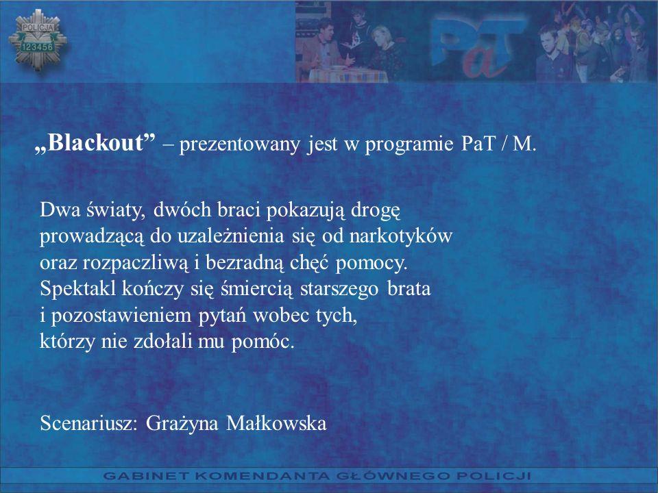 Blackout – prezentowany jest w programie PaT / M. Dwa światy, dwóch braci pokazują drogę prowadzącą do uzależnienia się od narkotyków oraz rozpaczliwą