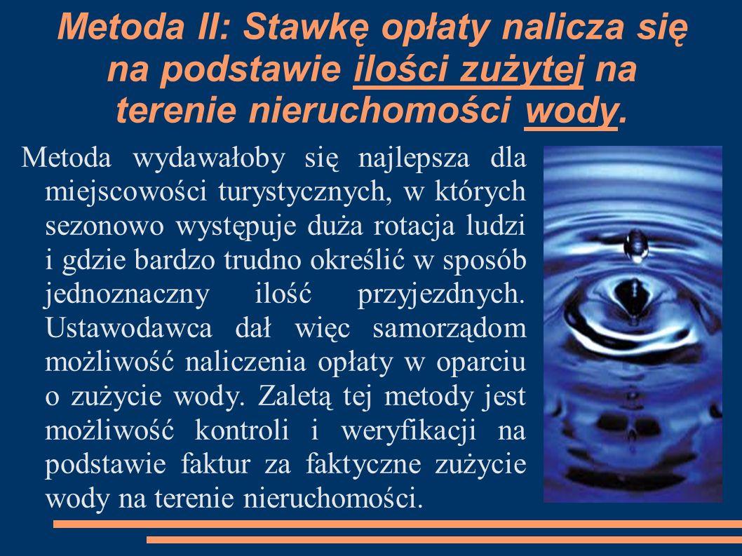 Metoda II: Stawkę opłaty nalicza się na podstawie ilości zużytej na terenie nieruchomości wody. Metoda wydawałoby się najlepsza dla miejscowości turys