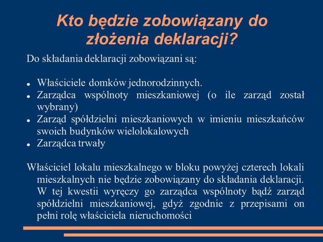 Kto będzie zobowiązany do złożenia deklaracji? Do składania deklaracji zobowiązani są: Właściciele domków jednorodzinnych. Zarządca wspólnoty mieszkan