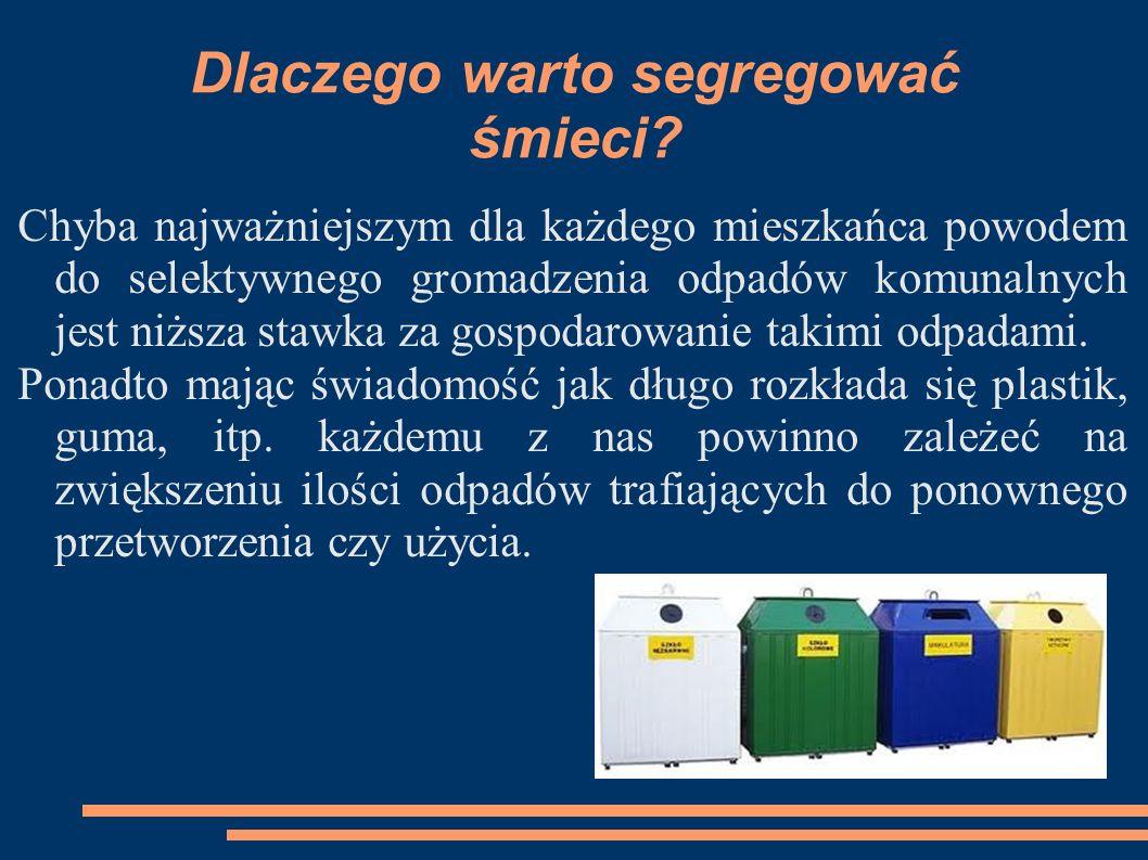 Dlaczego warto segregować śmieci? Chyba najważniejszym dla każdego mieszkańca powodem do selektywnego gromadzenia odpadów komunalnych jest niższa staw