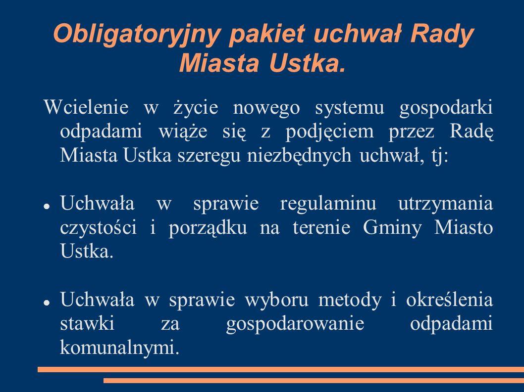 Obligatoryjny pakiet uchwał Rady Miasta Ustka c.d.