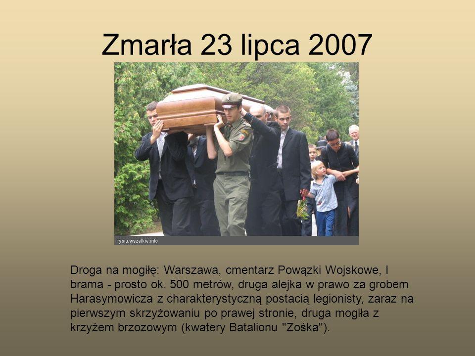 Zmarła 23 lipca 2007 Droga na mogiłę: Warszawa, cmentarz Powązki Wojskowe, I brama - prosto ok. 500 metrów, druga alejka w prawo za grobem Harasymowic