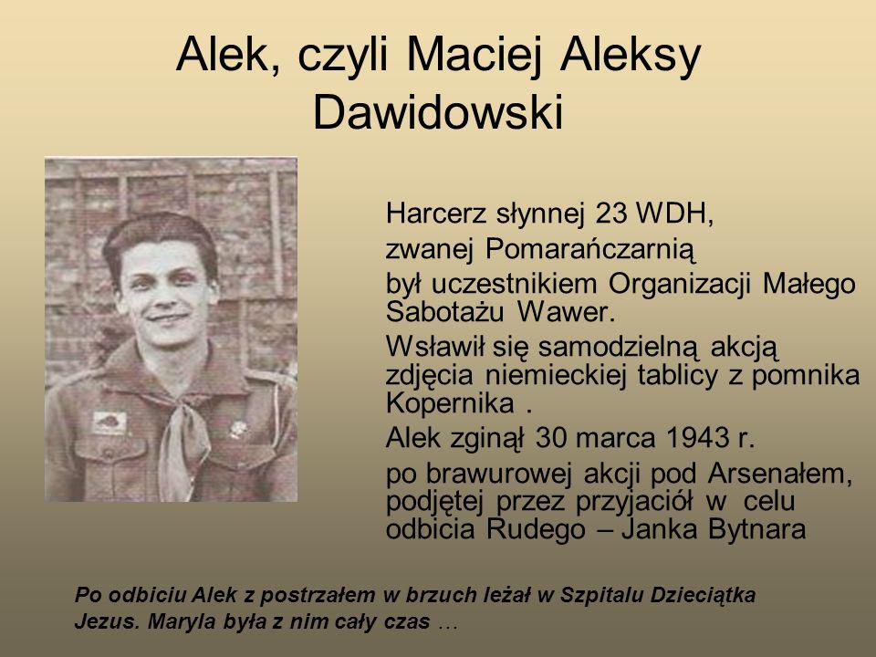 Alek, czyli Maciej Aleksy Dawidowski Harcerz słynnej 23 WDH, zwanej Pomarańczarnią był uczestnikiem Organizacji Małego Sabotażu Wawer. Wsławił się sam